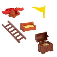 Fisher-Price Mike The Knight Glendragon Castle Playset #Y8370 - Replacement Red Catapult, Brown Ladder, Hay Trough, Treasure Chest with Gold and Yellow Flag