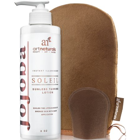 Bronze Tanning Lotion - Art Naturals Organic Self Tanner Sunless Tanning Lotion Set w/ Mitt 8oz- Creates a Buildable Bronze & Golden Tan w/ Each Application - Instant Tint for All Skin Types, Light, Fair, Medium & Sensitive