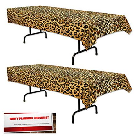 2 Pack Leopard Print Plastic Table