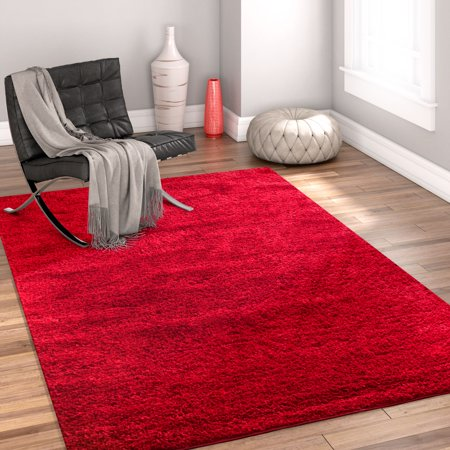 Well Woven Madison Shag Plain Modern Solid Red 5
