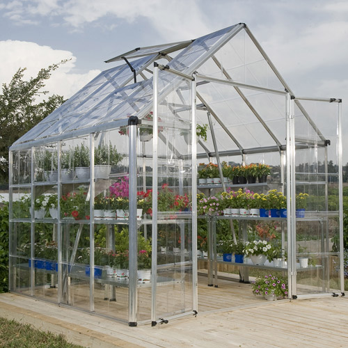 Palram 8' x 8' Clear Panel Greenhouse, Silver