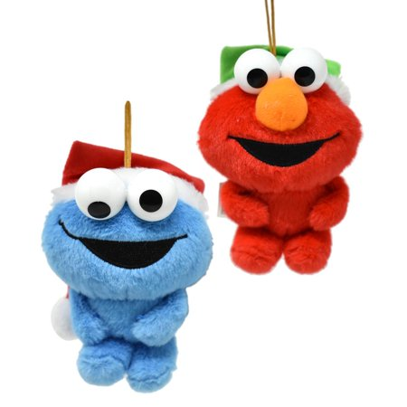 Hanging Plush Elmo and Cookie Monster with Santa Hat Christmas Ornament, 5-Inch, 2-Piece](Elmo Christmas Ornament)