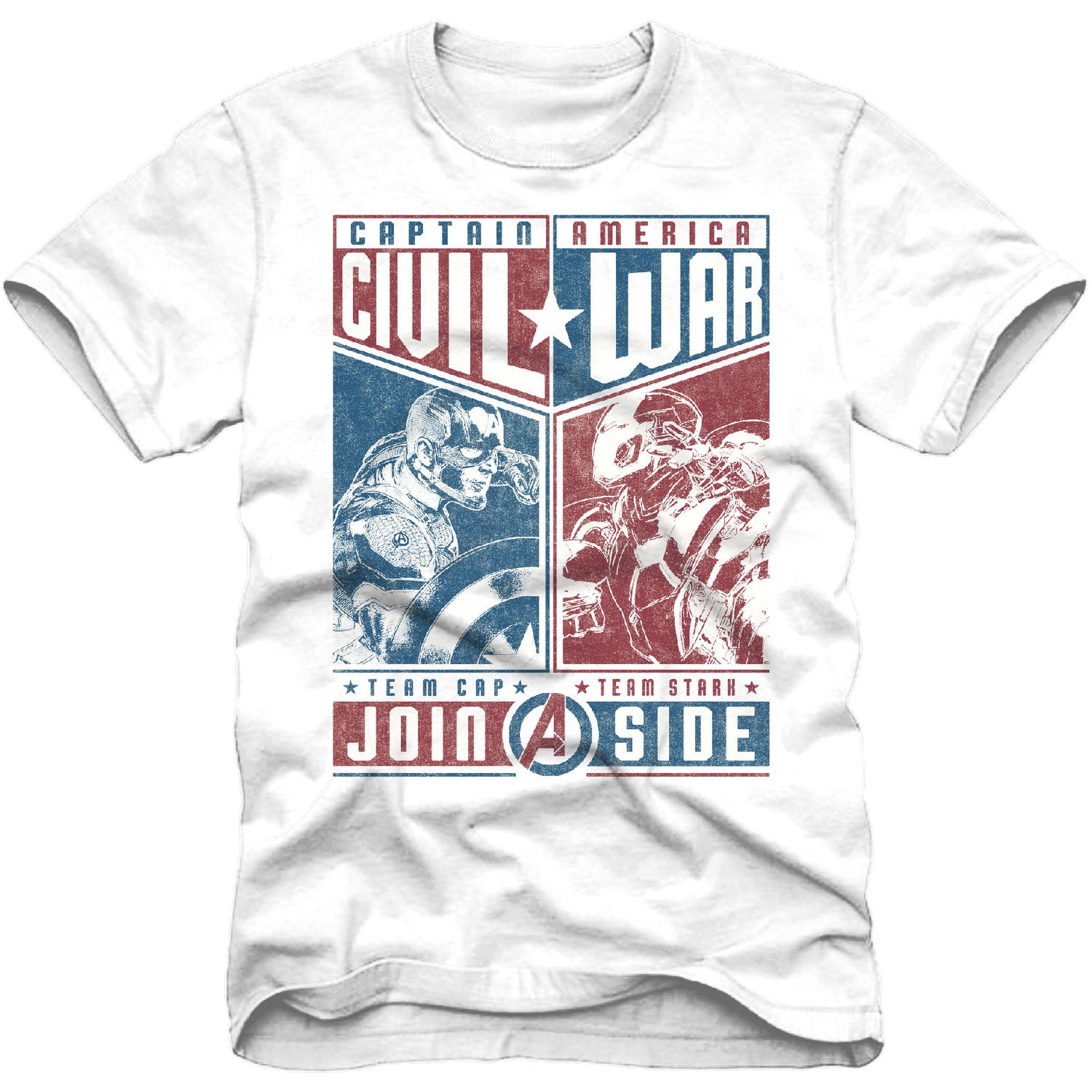 Marvel Captain America And Ironman Civil War Boys Short Sleeve Graphic Tee