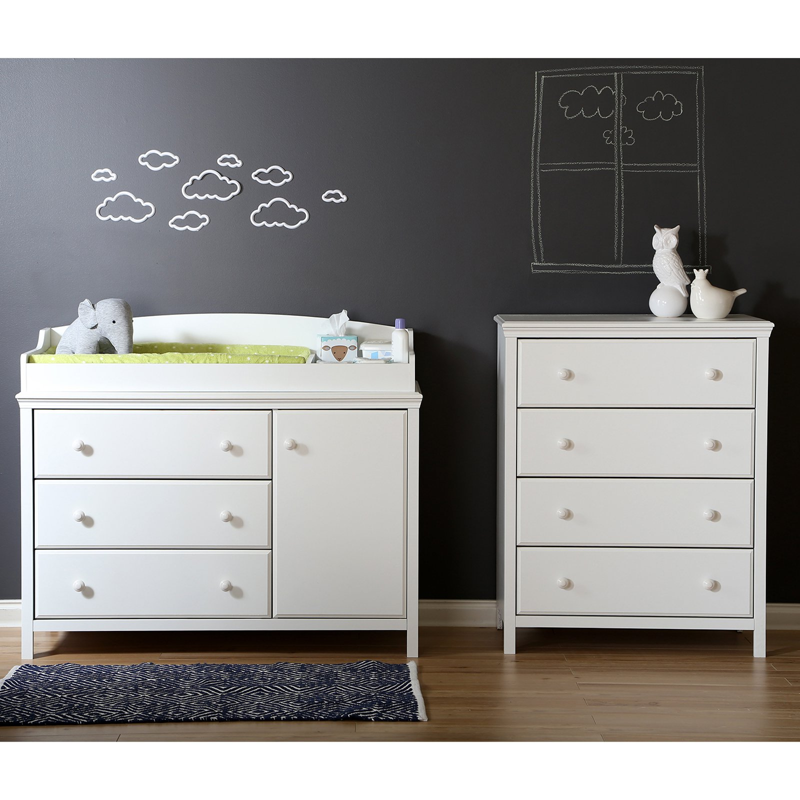 South Shore Cotton Candy Changing Table and 4 Drawer Chest Set by South Shore Furniture