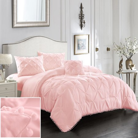Evolive 4pc Set Pinch Pleat/Kiss Pleat, Pintuck Comforter Set with (Pink And White Polka Dot Comforter Set)