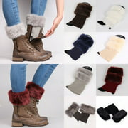 SUNSIOM Womens Winter Knitted Boot Cuffs Fur Knit Toppers Boot Socks Legs Warmers