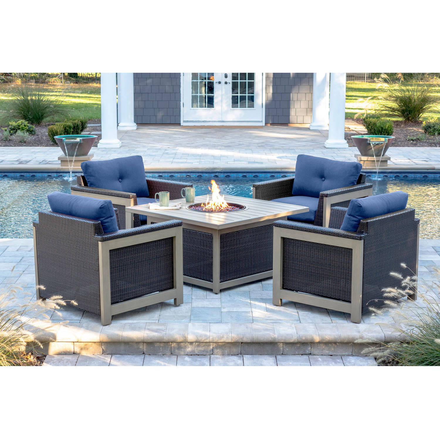 Hanover Outdoor Montana 5-Piece Woven Firepit Chat Set with Slate Top by Hanover Outdoor