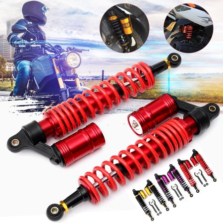 Yamaha Motorcycle Decals (AUDEW 2 Packs 400mm Motorcycle Air Shock Absorbers Universal Fit For Yamaha Banshee Raptor 660 700 YFZ450 ATV Sport Bikes Banshee Raptor Rhino((Color:red/gold/rose))