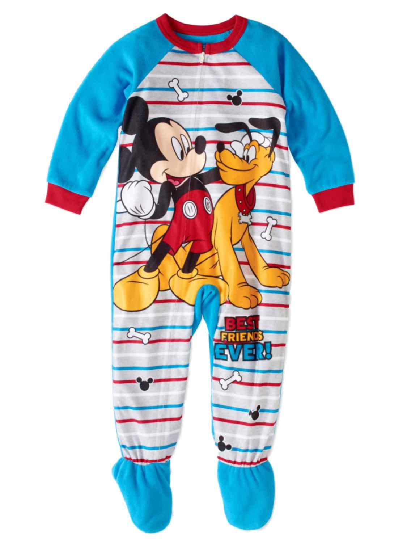 Toddler Boys Fleece Mickey Mouse & Pluto Blanket Sleeper Footie Pajamas