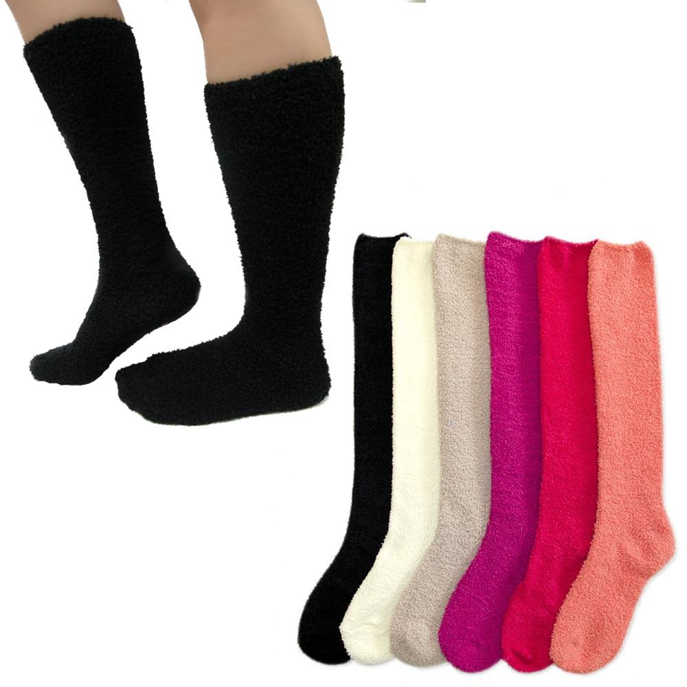 6 Pairs Women Girl Winter Socks Slipper Fuzzy Cozy Long Knee High...