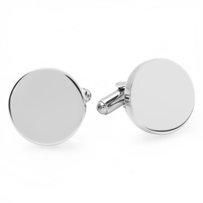Mens Stainless Steel Plain Round Cuff Links