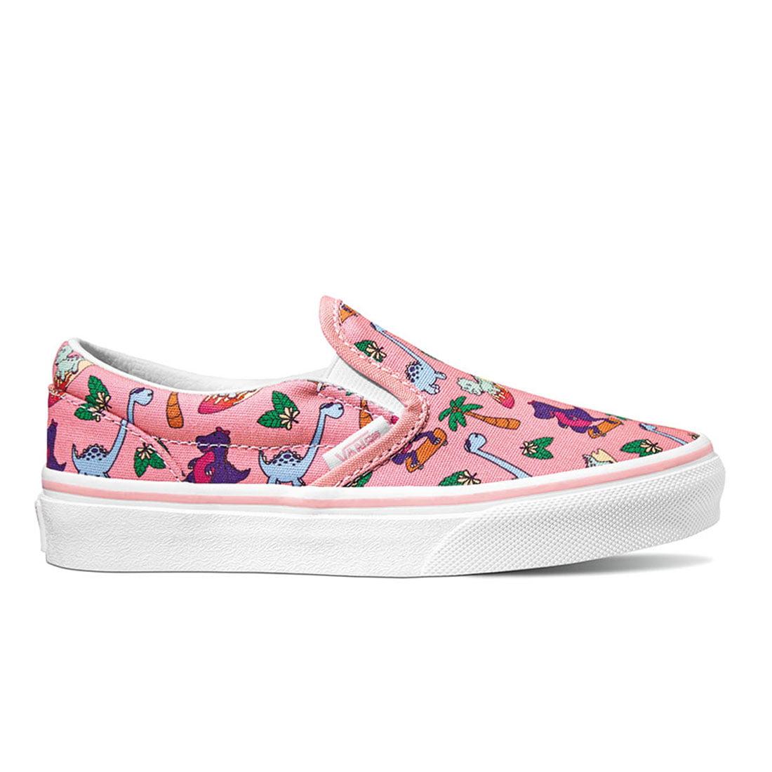 Vans - Vans Classic Slip-On (Surf Dinos) Grade School Girls/Child Shoe Size Big Kid 5 Athletics VN0A4UH8WL4 ((Surf Dinos) Pink Icing/True White) - ...