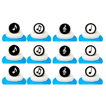 Music Notes Easy Toppers Cupcake Decoration Rings -24pk - Music Note Decorations