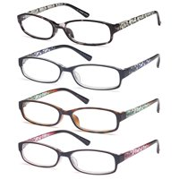GAMMA RAY Readers 4 Pack of Thin and Elegant Womens Reading Glasses with Beautiful Patterns for Ladies - 1.00x