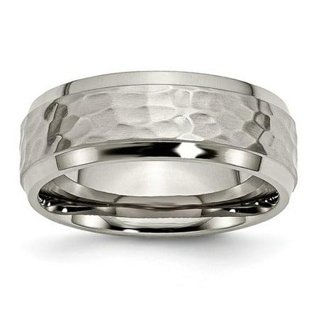 Engagement & Wedding Titanium 8 Mm Beveled Edge Hammered And Polished Wedding Band Traveling Bridal & Wedding Party Jewelry