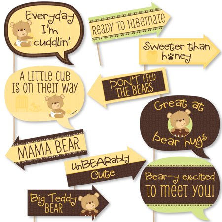 Funny Baby Teddy Bear - Baby Shower Photo Booth Props Kit - 10 Piece - Care Bear Baby Shower