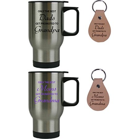 Only the Best Dads/Moms Get Promoted to Grandpa/Grandma 14 oz Stainless Steel Travel Coffee Mugs Bundle with Leather Keychains - Gift for Mothers's/Father's Day, Expecting Parents,