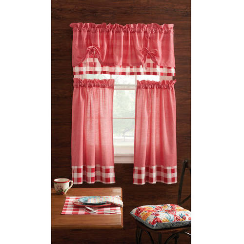 Pioneer Woman Kitchen Curtain And Valance 3pc Set, Charming Check, Red