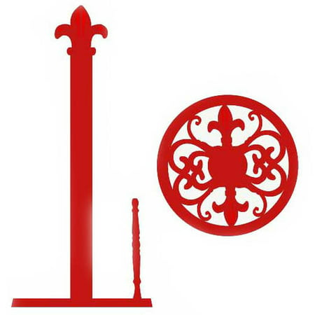 Home Basics Paper Towel Holder, Cast Iron, Red Fleur De (Fleur De Lis Paper)