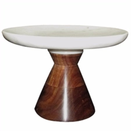 Alluring Marble Cake Plate With Wooden Stand, White And Brown