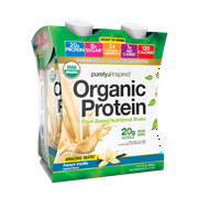 Organic Protein Shake, Ready to Drink, 20g Plant Based Protein, No Sugar, Low Carbs, Naturally Flavored, French Vanilla, 4 Servings (4 x 325mL)