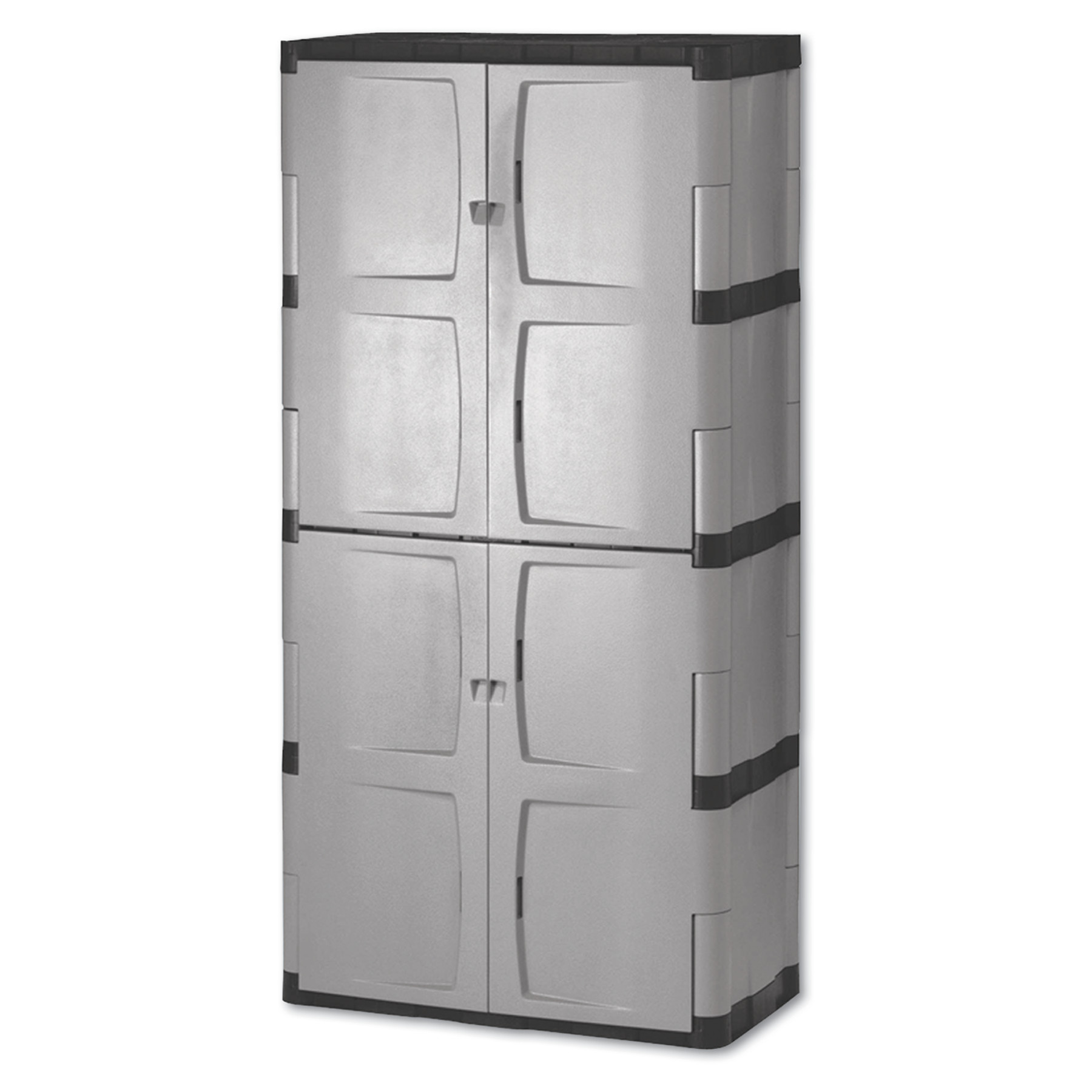 Rubbermaid Double-Door Storage Cabinet Base Top, 36w x 18d x 72h, Gray Black by Rubbermaid