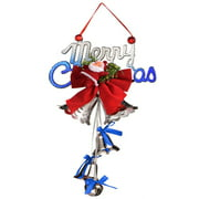 Christmas Ornaments, Santa Claus Bow Hanging Pendants with Bell for Home Shop Decoration