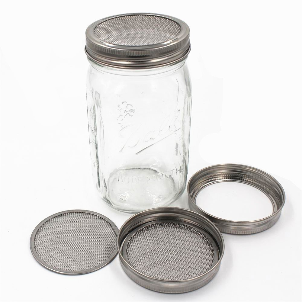 Great for Making Organic Sprout Seeds Pack 4 Silver Stainless Steel Sprouting Lids for Wide Mason Jars