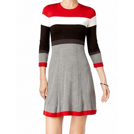 Jessica Howard NEW Gray Women Large PL Petite Colorblock Sweater Dress