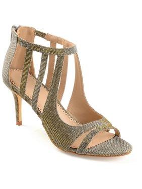 Women's Glitter Open-toe Cut-out Caged Heels