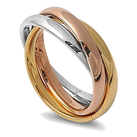 Women's 3MM Stainless Steel Tri color Interlocked Rolling Band Ring (Size 3 to 13)