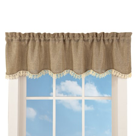 - Rustic Burlap Lace Rod Pocket Window Valance, Brown