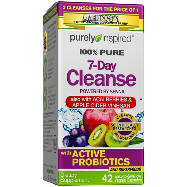 Purely Inspired Organic 7 Day Cleanse, Unique Senna Leaf Extract Formula with Antioxidant (Vitamin C), Superfruits, Probiotic & Digestive Enzymes, 42 Count