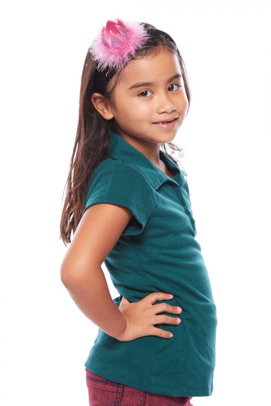 Girls Kids Front 3 Button Basic Plain School Uniform Polo Shirt GTSU-803-6-Lt.Blue