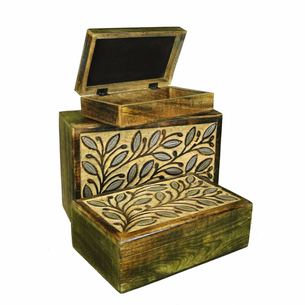 Sophisticated Wooden Jewelry Box, Set Of 3, Brown