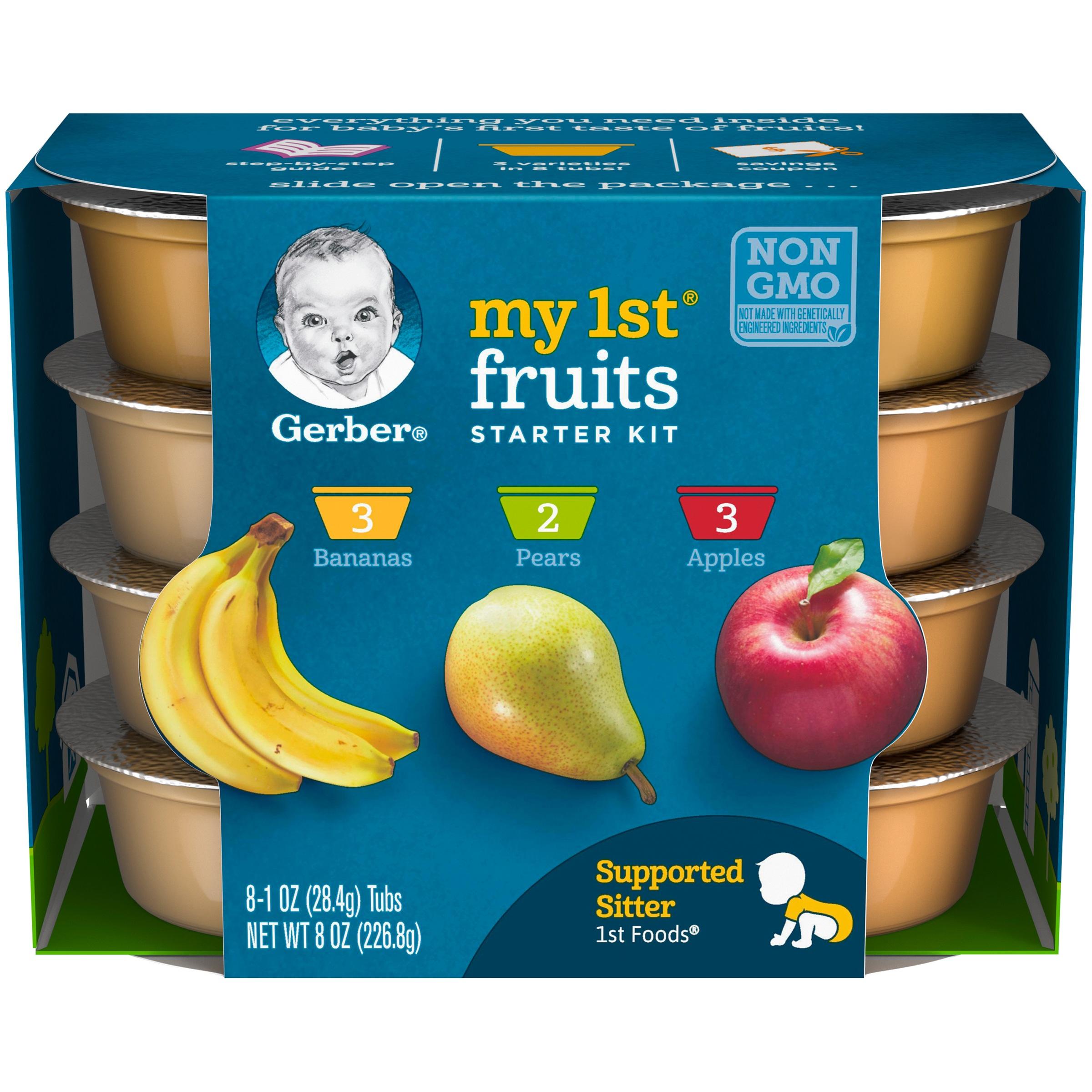 Gerber My 1st Fruits Baby Food Starter Kit, 1 oz. Tubs, 8 Count