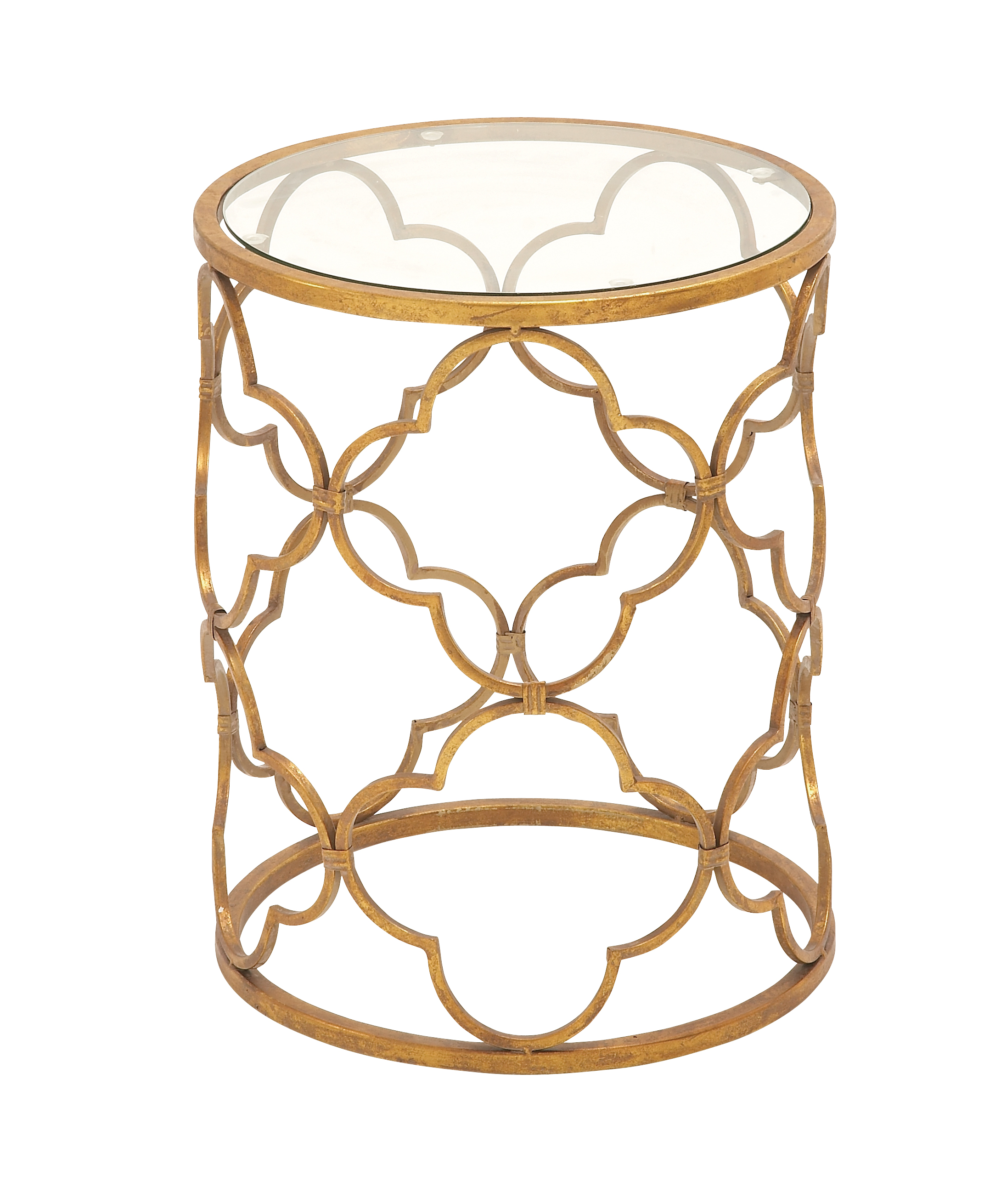 Decmode 20 Inch Cylindrical Golden Metal and Glass Accent Table, Gold brass by DecMode