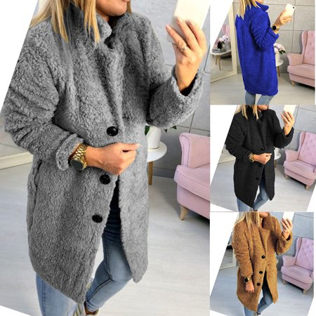 Womens Winter Warm Fleece Fur Cardigan Jacket Fluffy Coat Sweater Outerwear ()