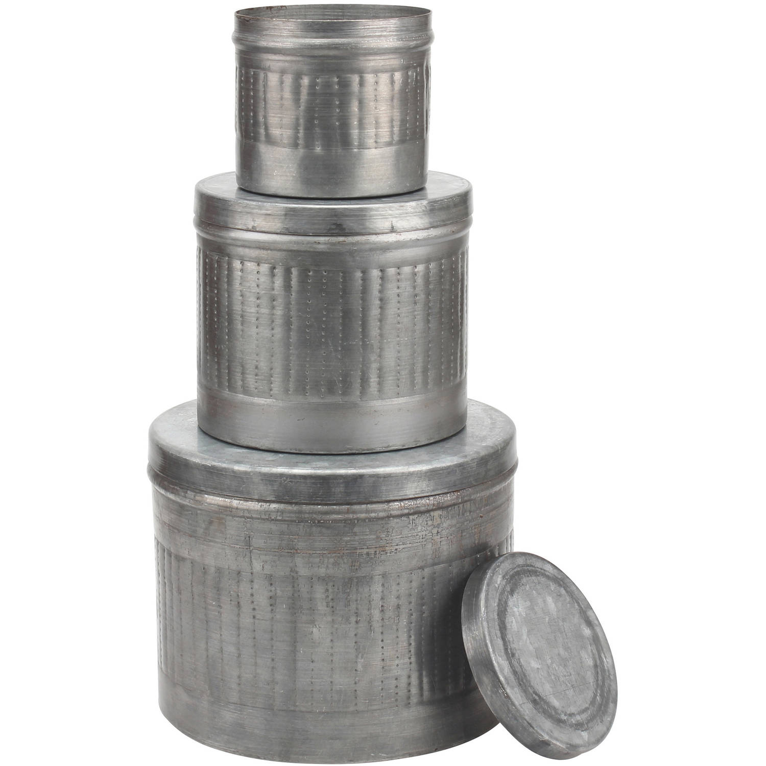 Set of 3 Aged Galvanized Metal Round Storage Boxes