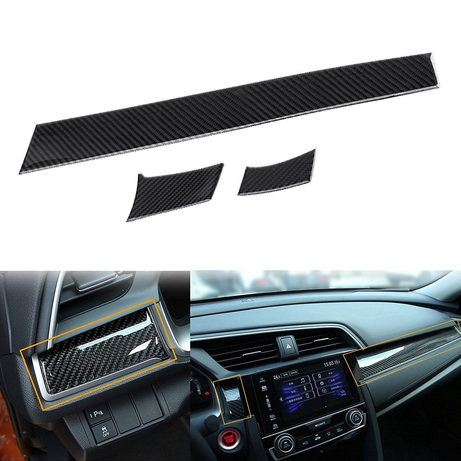 Xotic Tech 3 pcs Car Interior Trim Real Carbon Fiber 3D Center Console Panel Dashboard Cover Sticker Trim For 2016 2017 2018 Honda Civic 10th