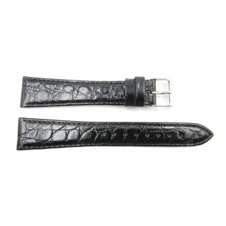 18mm Black Genuine Leather Round Crocodile Grain Long Watch Band