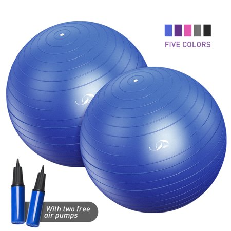 JBM Exercise Yoga Ball with Free Air Pump (Set of 2) 400 lbs Anti-Burst Slip-Resistant Yoga Balance Stability Swiss Ball for Fitness Exercise Training Core Strength (60-65cm / - Balance Inflatable Exercise Ball
