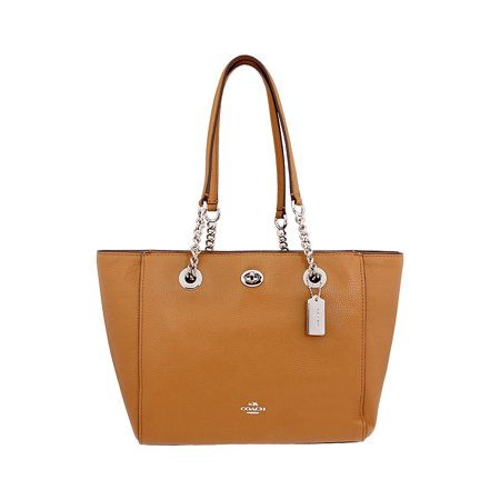 Lambskin Medium Tote (Coach Turnlock Chain Ladies Medium Leather Tote Handbag 57107SVQD )