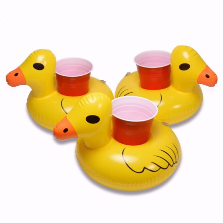 GoFloats Inflatable Duck Drink Holder, 3-Pack, Float your drinks in style](Inflatable Flamingo Drink Holder)