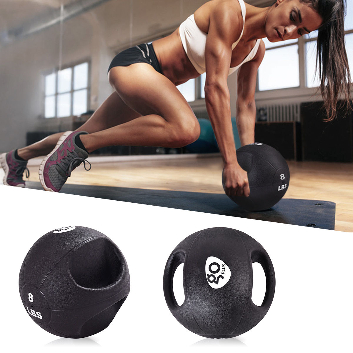 Dual Grip Medicine Ball Fitness Weighted Training 6 8 10 12 14 16 20lbs by Costway