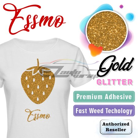 ESSMO Gold Glitter Heat Transfer Vinyl HTV Sheet T-Shirt 20