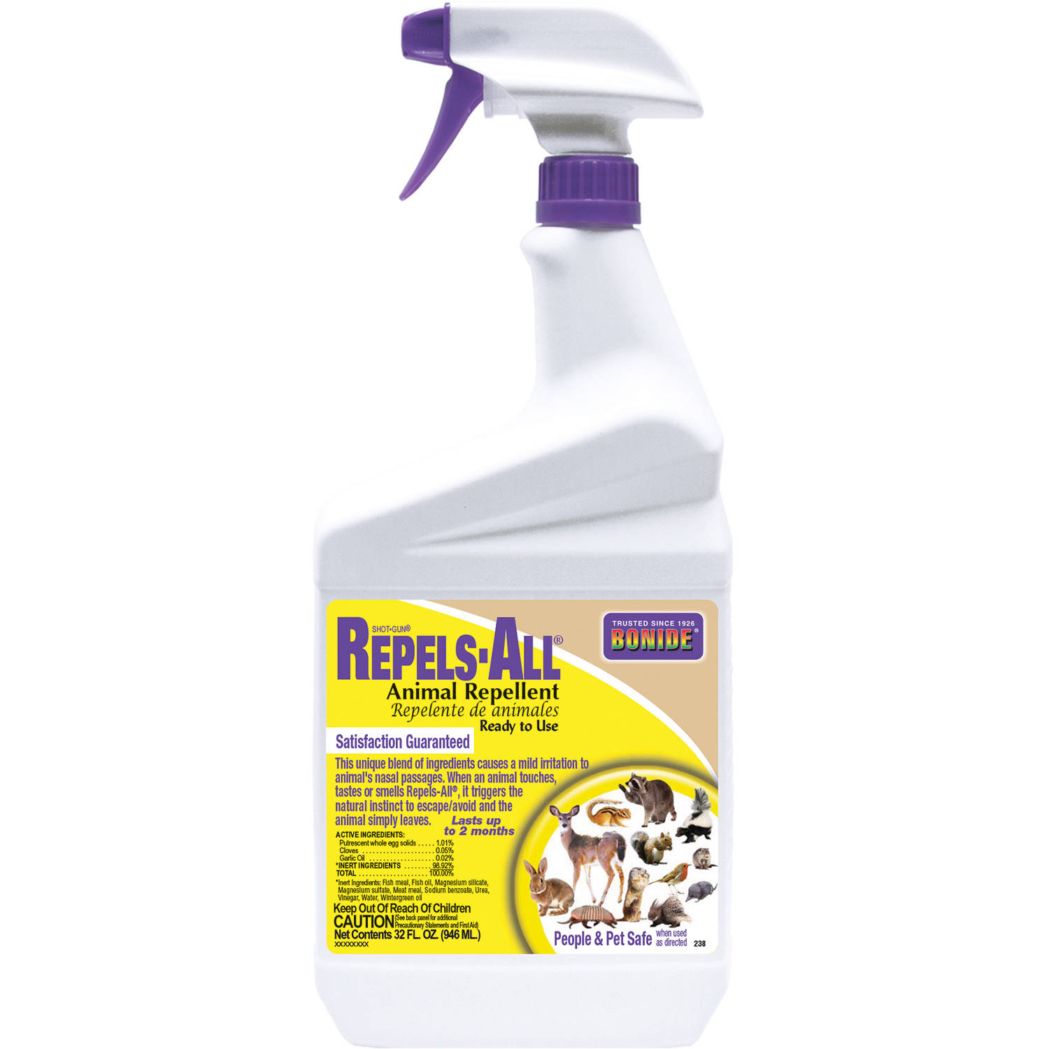 Image of BONIDE Animal Repellent, All Natural Repels-All, Qt-RTU Spray