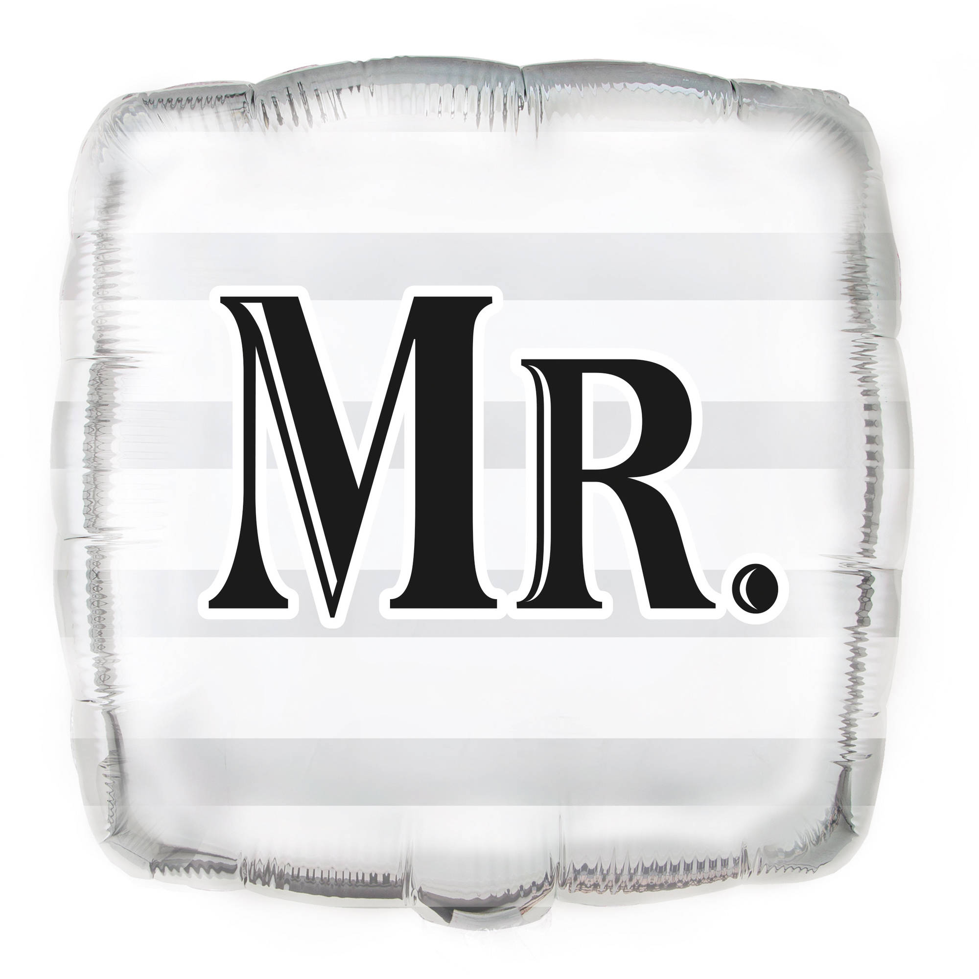 "Foil Square ""Mr."" Wedding Balloon, 18 in, Silver, 1ct"