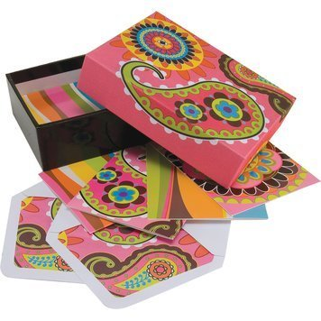 """12 Blank Inside Note Cards w/ Coordinating Envelopes & Keepsake Box """"Pink Paisley"""" - 4 Colorful Designs, Thank You Stationery Cards - 5"""" x 3.5"""""""