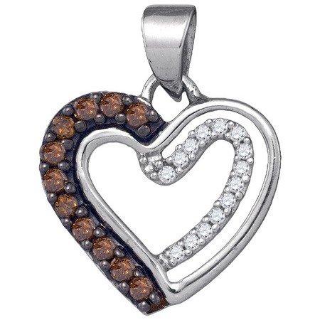 Prong Fashion - 10K White Gold 0.20ctw Fancy Surface Prong Brown Diamond Fashion Heart Pendant `